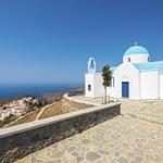 Dodekanes Kirche mit Blick auf die Ägäis